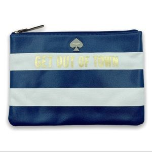 Kate Spade Get Out Of Town Zip Top Pouch Navy Gold